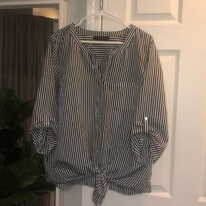 The Limited XL navy/white striped blouse